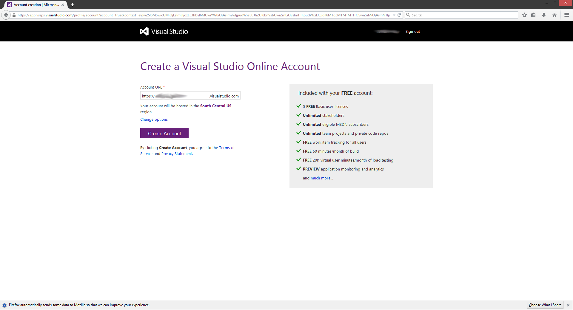 Visual Studio.com account creation